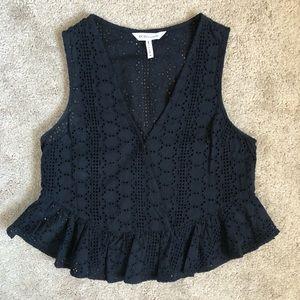 🍁BCBG Black Cotton Eyelet Lace Peplum Tank Top